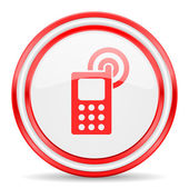 Phone red white glossy web icon — Stock Photo