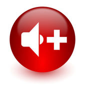 Speaker volume red computer icon on white background — Stock Photo