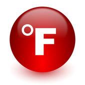 Fahrenheit czerwony ikona na białym tle — Zdjęcie stockowe