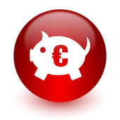 Piggy bank red computer icon on white background — Stock Photo