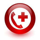Emergency call red computer icon on white background — 图库照片