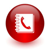 Phonebook red computer icon on white background — Stock Photo