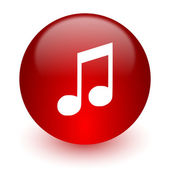 Music red computer icon on white background — Stock Photo