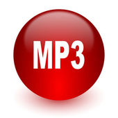 Mp3 red computer icon on white background — Stock Photo