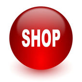Shop red computer icon on white background — Stock Photo