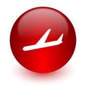 Arrivals red computer icon on white background — Stock Photo