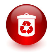 Recycle red computer icon on white background — Photo