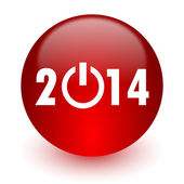 2014 год красный компьютер значок на белом фоне — Стоковое фото