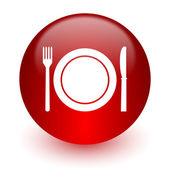 Restaurant red computer icon on white background — Stockfoto