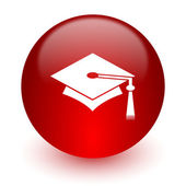 Education red computer icon on white background — 图库照片