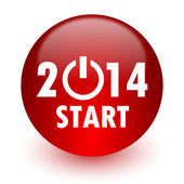 Year 2014 red computer icon on white background — Stockfoto