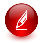 Pencil red computer icon on white background — Stock Photo