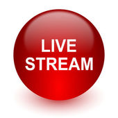 Live stream red computer icon on white background — Stock fotografie