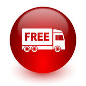 Free delivery red computer icon on white background — 图库照片