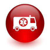 Ambulance red computer icon on white background — 图库照片