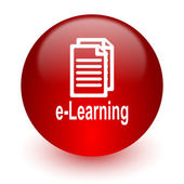 Learning red computer icon on white background — Stock Photo
