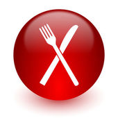 Restaurant red computer icon on white background — 图库照片
