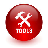 Tools red computer icon on white background — Stock Photo