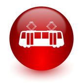 Tram red computer icon on white background — Stock fotografie