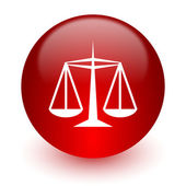 Justice red computer icon on white background — Stockfoto
