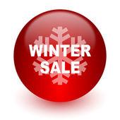 Kış satılık kırmızı bilgisayar simgesi beyaz zemin üzerine — Stok fotoğraf