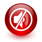 Mute red computer icon on white background — Stock Photo