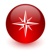 Compass red computer icon on white background — Stock Photo