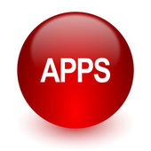 Apps red computer icon on white background — 图库照片