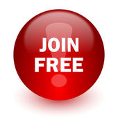 Join free red computer icon on white background — Stock Photo