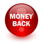 Money back red computer icon on white background — Stock Photo