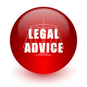 Legal advice red computer icon on white background — Stockfoto