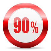 90 percent glossy web icon — Stock Photo