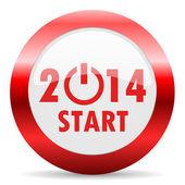 Year 2014 glossy web icon — Stock Photo