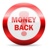 Money back glossy web icon — Stock Photo