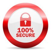 Secure glossy web icon — Stock Photo