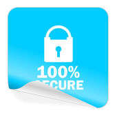 Secure blue sticker icon — Стоковое фото