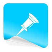 Pin blue sticker icon — Stock Photo
