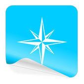 Compass blue sticker icon — Stock Photo