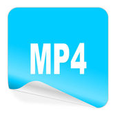 Mp4 blauwe sticker pictogram — Zdjęcie stockowe