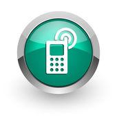 Phone green glossy web icon — Stockfoto