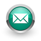 Email green glossy web icon — Stock Photo