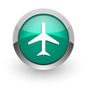 Plane green glossy web icon — Stock Photo