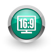 16 9 display green glossy web icon — Stock Photo
