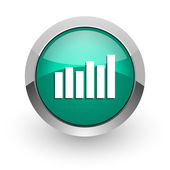 Graph green glossy web icon — Stock Photo
