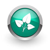Leaf green glossy web icon — Stock Photo