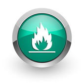 Flame green glossy web icon — Stock Photo