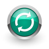 Reload green glossy web icon — Stock Photo
