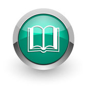 Book green glossy web icon — Stock Photo