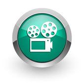 Movie green glossy web icon — Stock Photo