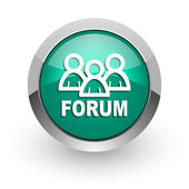 Forum green glossy web icon — Stock Photo